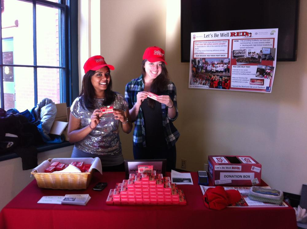2011, Students at Brown University selling GudNeSs bars that subsidized four bars in India.