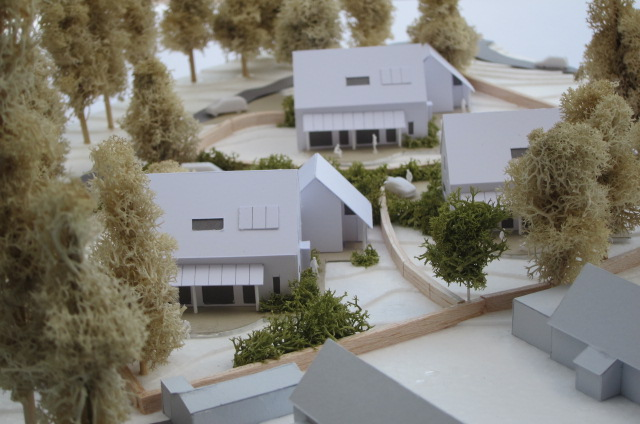.........1:200 scale site model for three passive houses