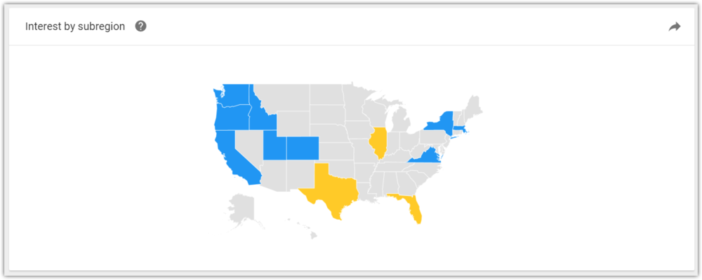 Google Trends keyword interest by state