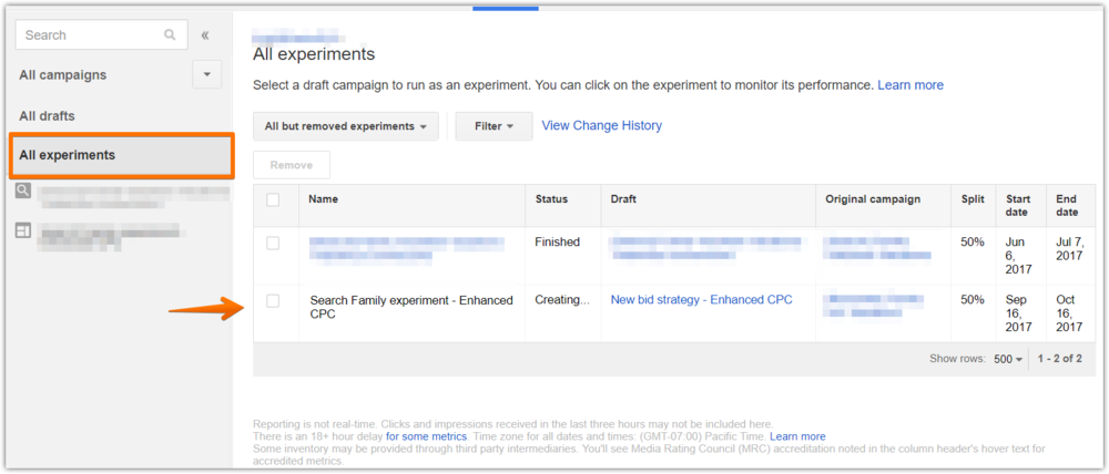 AdWords experiments - view experiments.png
