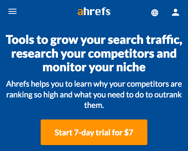 Paid trial example (psychology of commitment and consistency) - Ahrefs