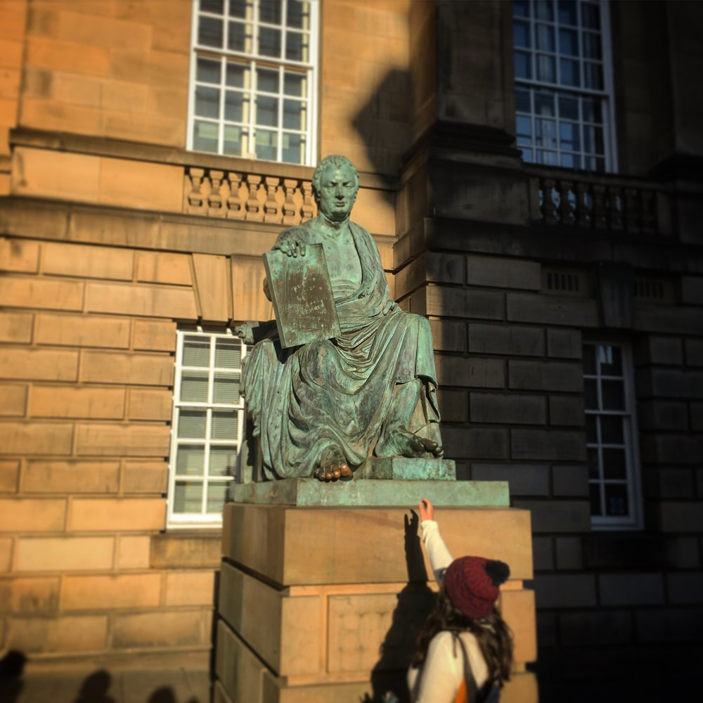 David Hume was a Scottish philosopher, historian, economist and essayist.   It is said to be good luck to rub his shiny big toe, which is strange, as Hume despised superstition.