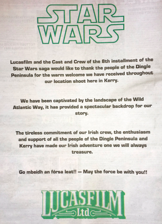 Mark Hamill and Lucasfilm placed newspaper ads to thank the locals for the warm welcome.
