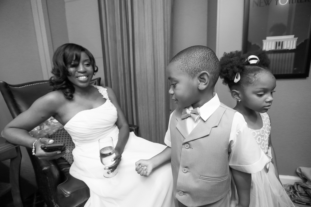 Nina chilled with the flower girl and ring bearer while Aisha was still getting ready.