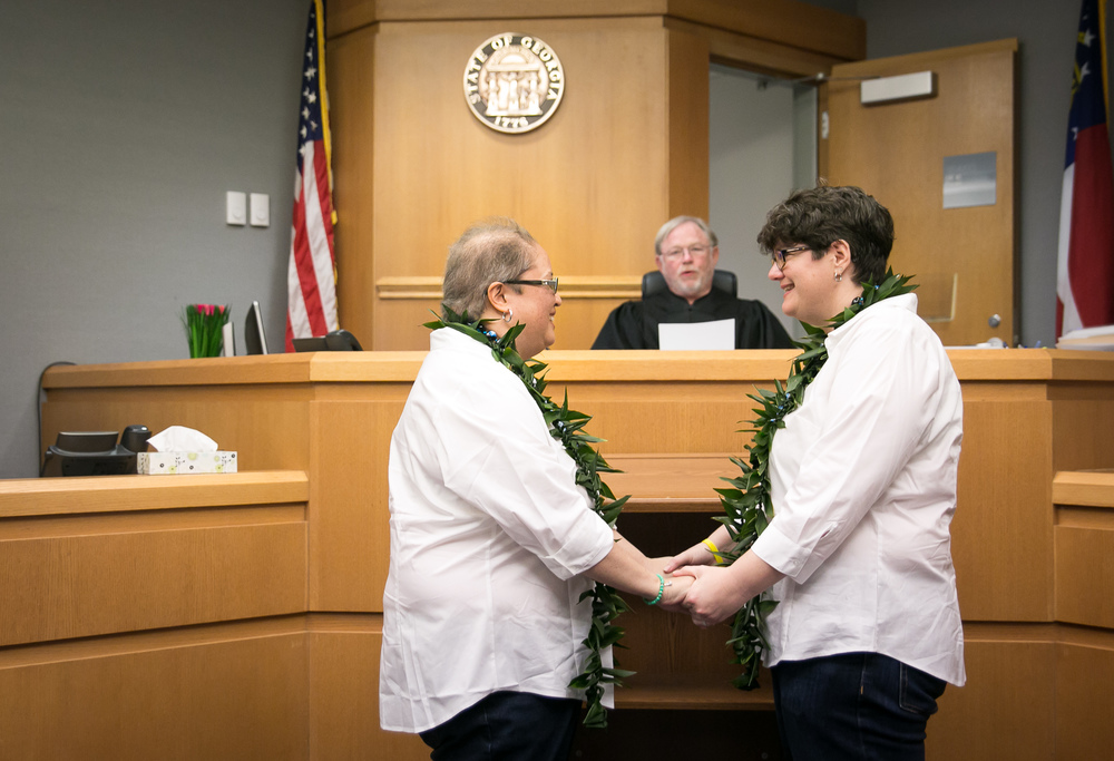 Cathy Pallon and Lyn Nierva wedding at Gwinnett County Courthouse in Lawrenceville, GA