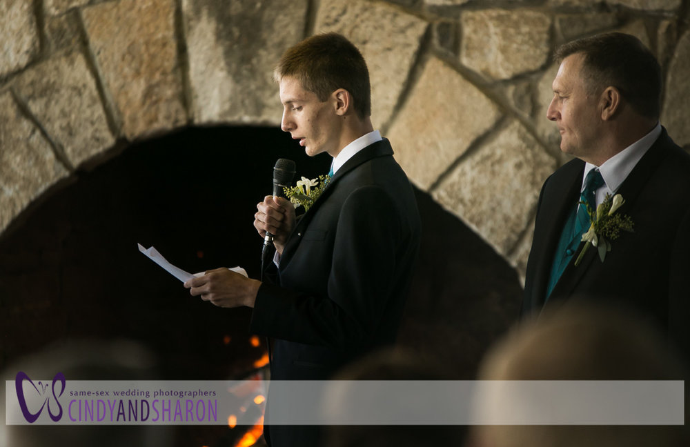 Devin reads scripture during the ceremony.