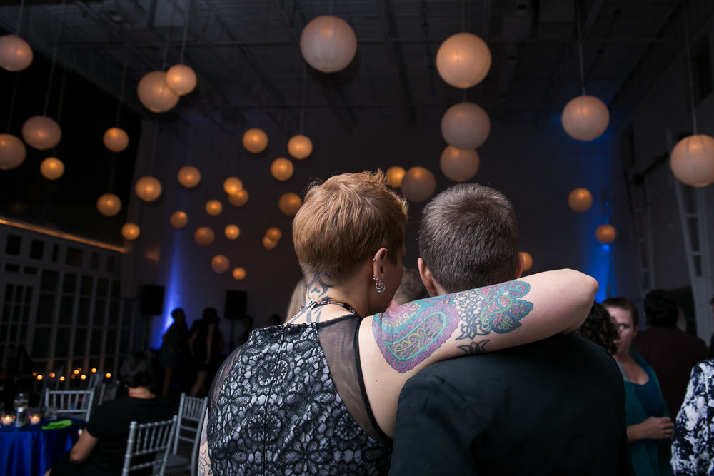 tattoo couple at lesbian wedding in chicago