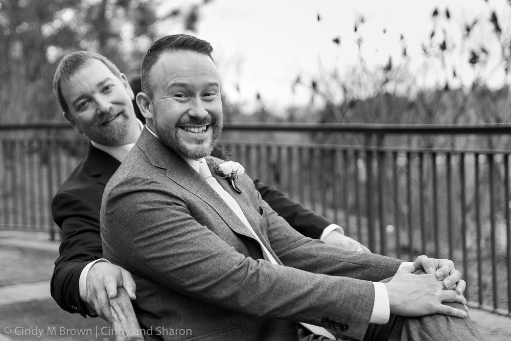 Matthew and Tim at Piedmont Park after their courthouse wedding