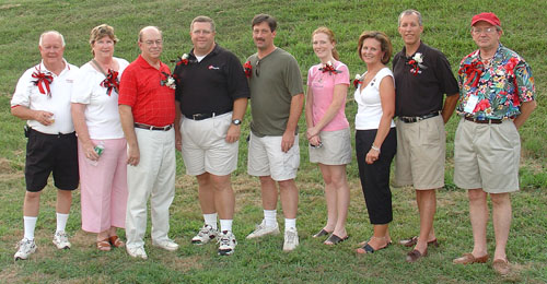 2005 Crossmen Hall of Fame Ceremony (L to R): Robby Robinson Sr., Charlotte Robinson,  Tom Campbell, Scott Litzenberg, Mark Thurston, Theresa Hoover representing Joseph Kempf, Lori and Jim Kempf representing Joseph Kempf, and Mike Dennis.