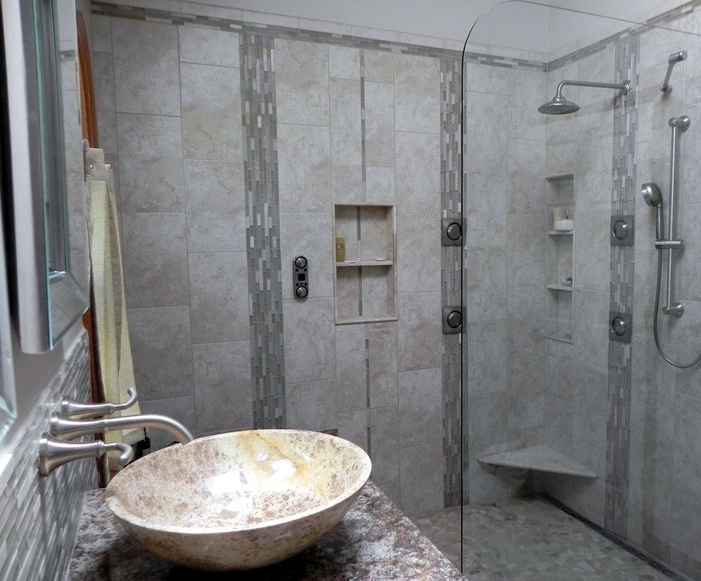 Modern Open walk-in shower
