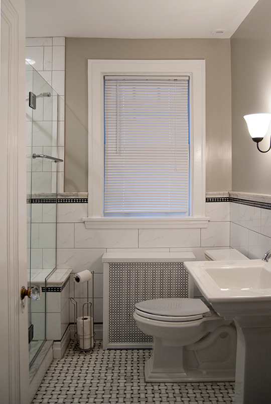 Couple of things preserved from old bathroom;  Radiator with cover, Window and door trim.......And thats about it. Contact us today for a full  and specific estimate!