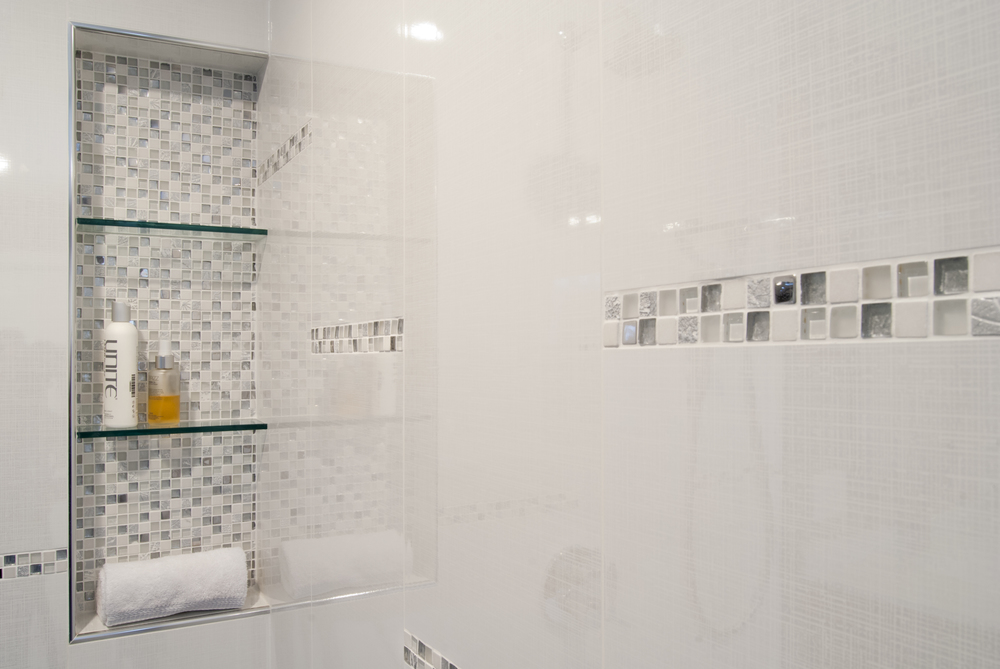 Contemporary recessed shower niche