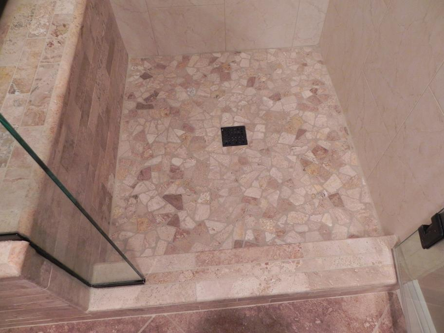 tumbled travertine shower floor