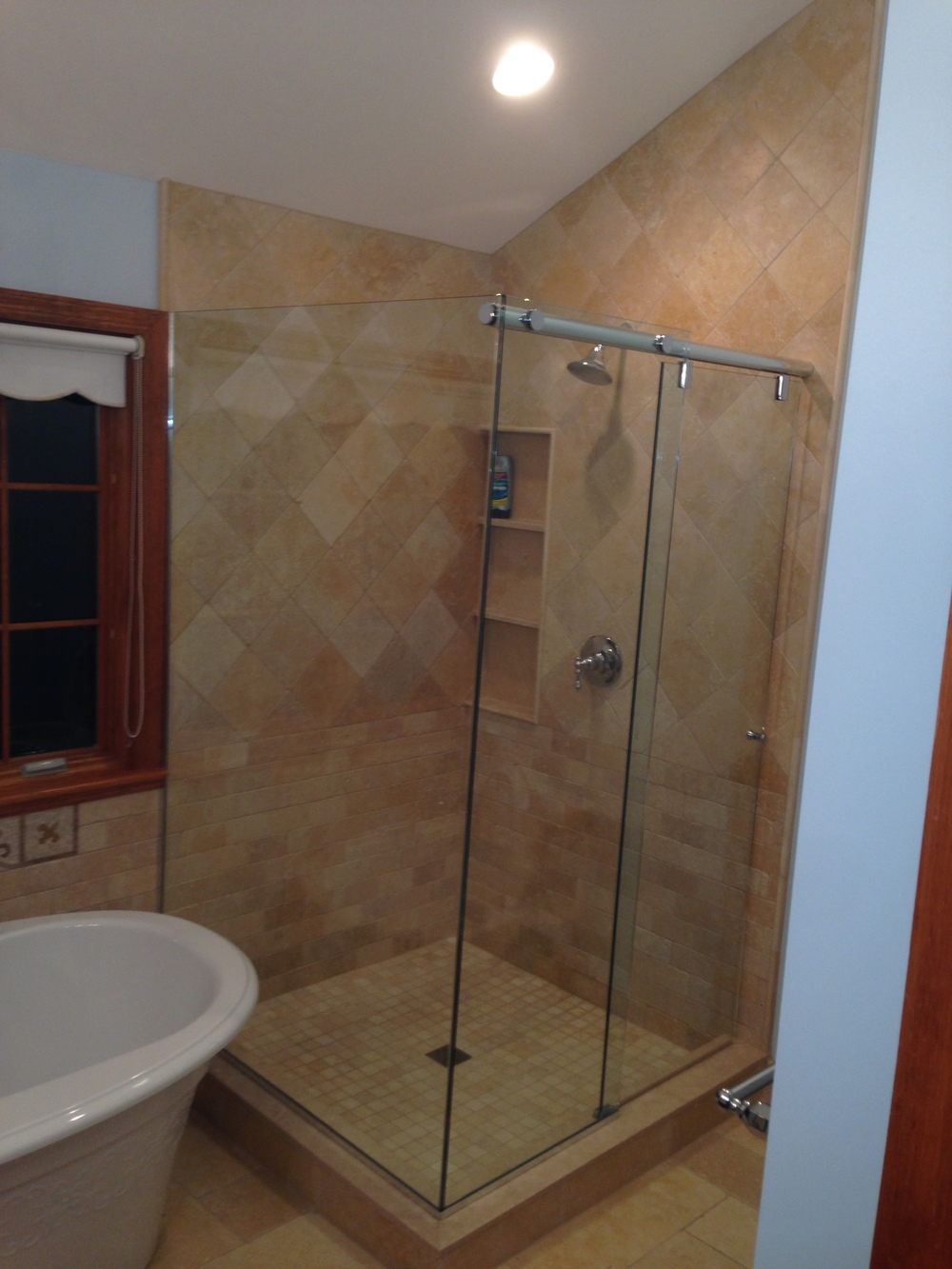 Glass shower enclosures bathroom renovations for Corner sliding glass doors