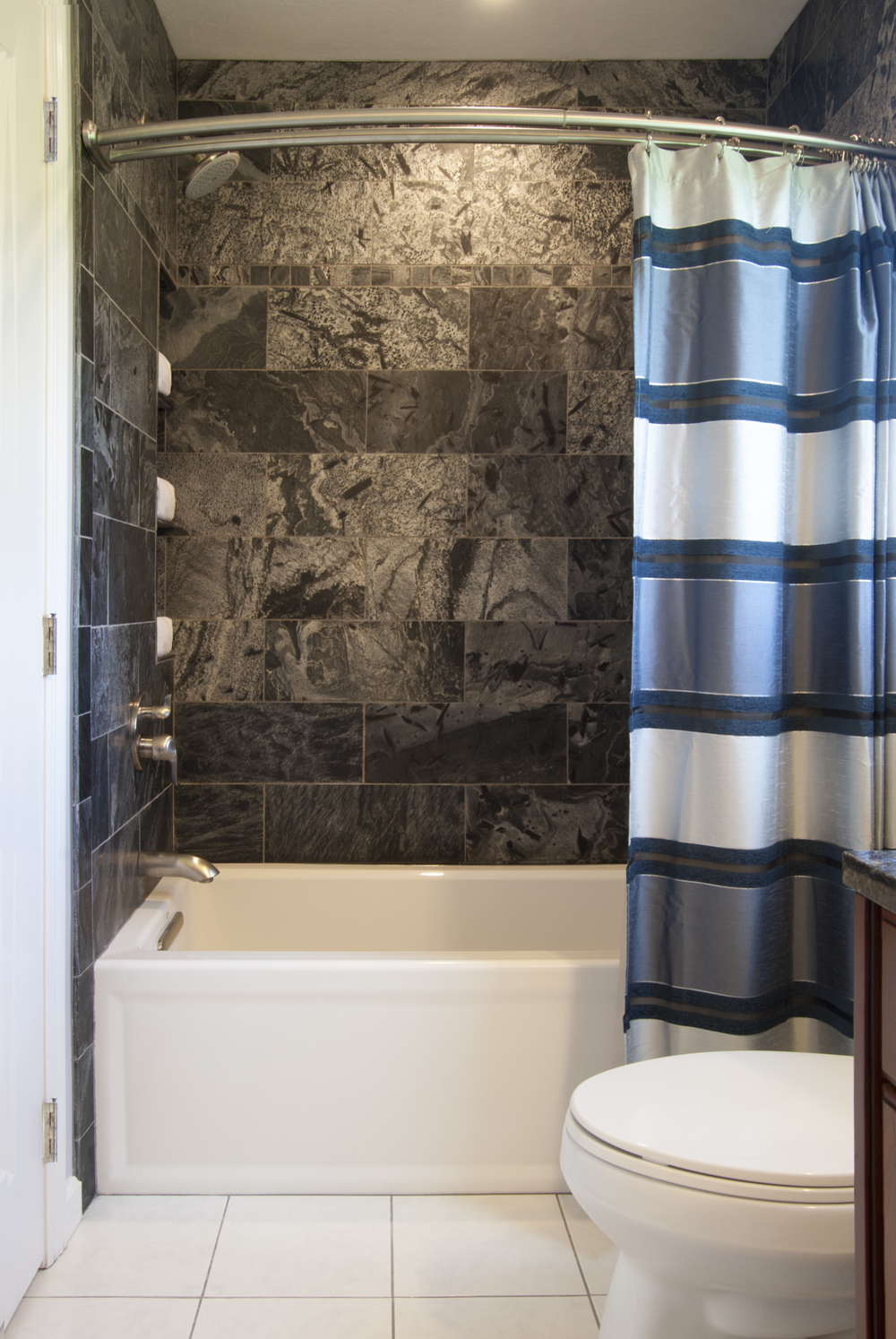 modern slate tub & shower