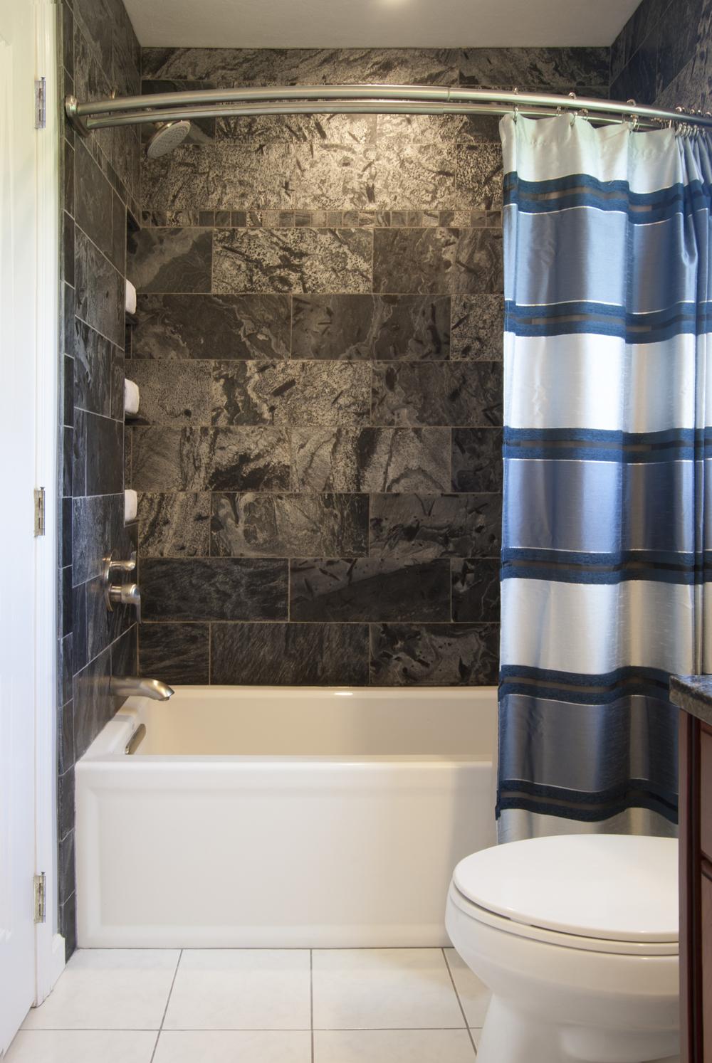modern slate tub & shower