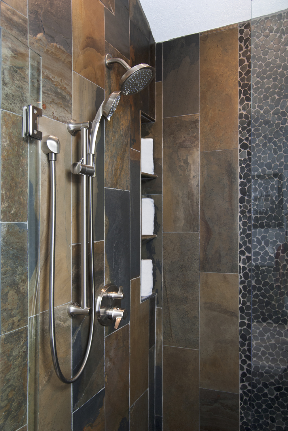 slate rustic shower