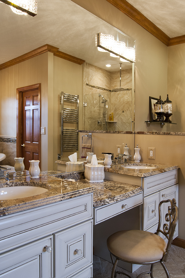 traditional vanity with make-up area