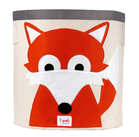 Really like this fox bin, since Todd = fox. Not sure it would be the  best for the baby's room, though maybe it would be humorous because of  the couple of chicken elements…   $40 at 3sprouts   (via  3 Sprouts – fox storage bin )
