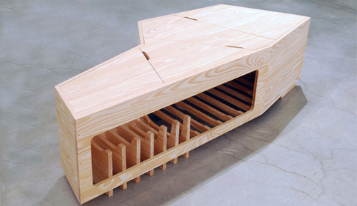 A coffeetable coffin, called Momento, is a new take on the ol' pine box.   via Inhabit