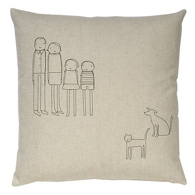 Customizable hemp and feather pillows display line drawings of the whole family.    At Branchhome, via Black*Eiffel