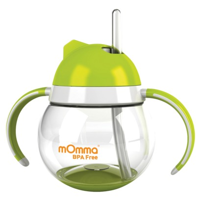 I want to teach S to drink from a straw. This might help.   (via  mOmma Straw Cup with Dual Handles - Green : Target )