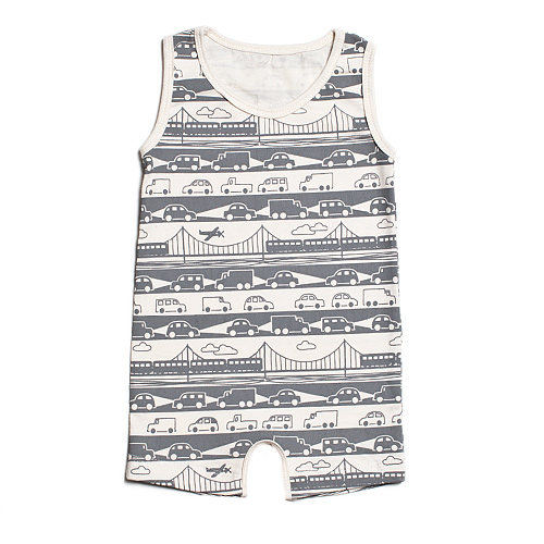 These baby clothes actually look great and not baby-ish at all.   (via  Summer Romper- Bridge & Tunnel GreyWinter Water Factory )