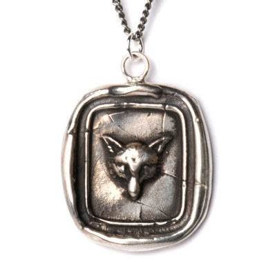 love it.  todd = fox. Fox Head Wax Seal Necklace | Wax Seal Necklaces | Talisman Necklaces | Pyrrha