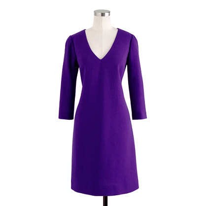 Really digging everything about this dress - including the purple color. (via Wool crepe V-neck dress - dresses - Women's new arrivals - J.Crew)