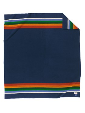 Still made in the same place they were 100 years ago - I love the stripes on this Pendleton blanket dedicated to Crater Lake National Park. It probably is worth the $200, but that is a lot for a blanket.   (via  Pendleton Woolen Mills: CRATER LAKE NATIONAL PARK BLANKET )