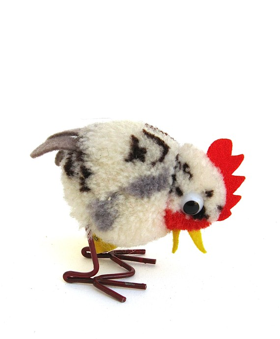 This vintage Steiff chicken is fantastic.  Not that I really need a stuffed chicken when I have live ones, but great condition.   (via  cluck cluck sweet vintage steiff chick by timelesssdesign )