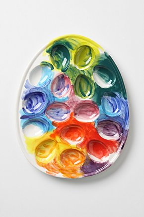 This egg plate from Anthropologie is fantastic.  Love the colors and the concept.  $24.00 Imprinted Palette Egg Caddy - Anthropologie.com