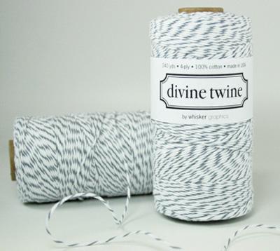 "Love this retro-cool baker's twine, even if I think it is green-washing to call it ""eco-luxe"" (all cotton products are inherently biodegradable).  But I'd love to finish all my gifts with this wrapping!    Oyster Gray Divine Bakers Twine Personalized Stationery, Printables & Divine Twine"