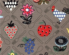 Just found this online fabric place. This cute print would make a great apron!    Farm Food Fruit & Chicken Cotton Fabric at HartsFabric.com - Bird Fabric