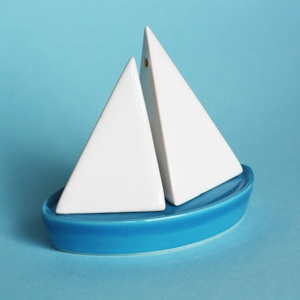 Adding the to the (mostly virtual) salt and pepper collection.  Such a lovely idea.  Definitely European. Our Workshop | Salt & Pepper Sailboat in Blue
