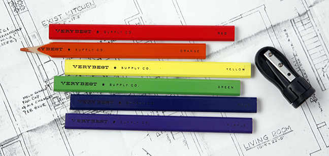 clever and useful $12.00 Rainbow Carpenter Pencil & Sharpener Set: The Spoon Sisters - Great Gifts Opening Everywhere