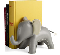 The trend of sand-stuffed leather animal bookends is one I am supporting.  This little elephant is so far my favorite of all I have seen.  Available at the MoMa store, by Eve Chang, for $30.    MoMa Store