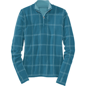 Another new favorite from Title Nine - in a great Marine color.  And thumbholes!  And sale for $59!    Plaid Commotion Sweater - Performance Tops - Tops - Title Nine
