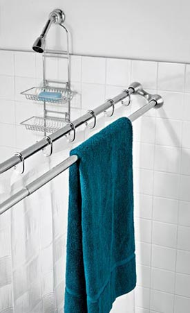 This sort of shower curtain rod + towel bar would be a nice addition to our guest bathroom.  Currently there is no towel bar for bath-size towels, and this would be an easy fix.  First seen on Apartment Therapy, they list it for $40, but I couldn't find it on the Linens N Things website where they link.    Apartment Therapy New York | Polder Duo Shower Rod