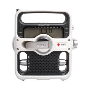 Amazing design on this Eton FR500 Solarlink Radio. And pretty amazing price from Amazon - it lists for $100, but is going for 30-40% off depending on color (black or white).  Has both a crank, solar cell, ac adapter and ni-mh battery.  Features am/fm, shortwave, noaa weather radios and led flashlight/beacon and emergency siren.    Amazon.com: American Red Cross FR500 Solarlink, White: Electronics