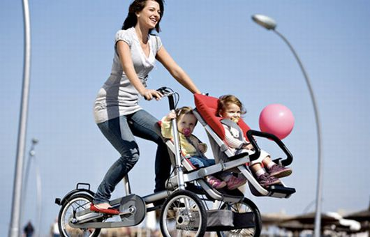 Interesting, if expensive ($2600), solution to biking with kids.  Three speeds, disc brakes up front, parking brake, and can eventually convert to standalone bike or more typical stroller.  Currently not available in the U.S.    Taga Stroller-Bike is Kid-Carrying Cruiser | Gadget Lab | Wired.com