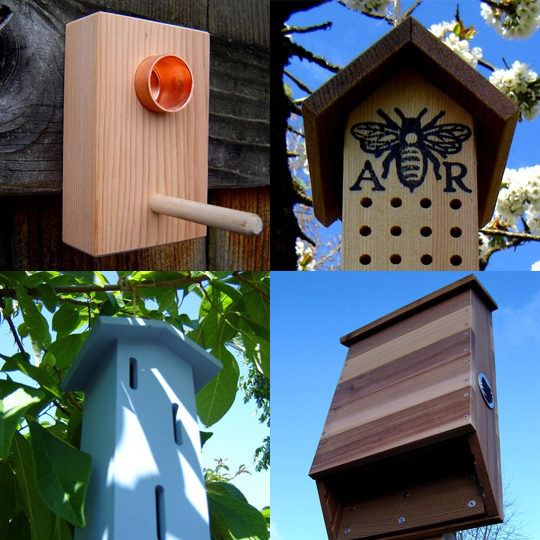 This eco-friendly garden homes are all made from reclaimed lumber, in what looks to be great craftsmanship. I am definitely considering one of the bat houses, which costs $85. The bee houses are also of interest, though I am not quite sure what you do with a full bee house at the end of the summer?    andrewsreclaimed on Etsy - Eco Friendly Wooden Garden Supplies and Decor