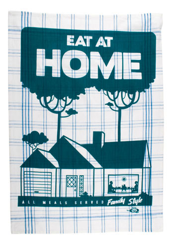 I like this screen-printed dishtowel.  Its definitely something we try to do more often than not.  Though tonight we are ordering in pizza….does that count? This dishtowel is at ModCloth, on sale for $10.49. Eat at Home Dishtowel-Mod Retro Indie Clothing & Vintage Clothes