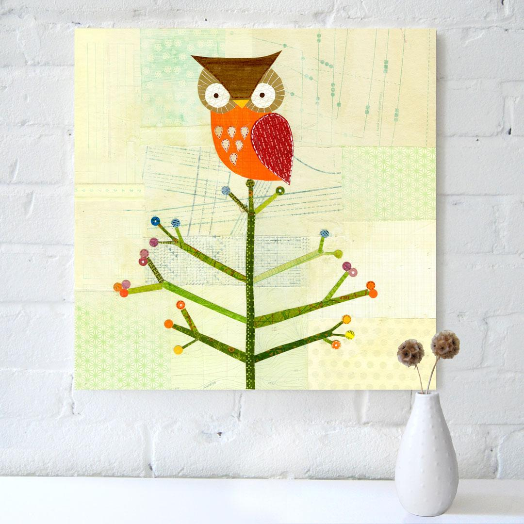 "I am getting over the owl trend, but I do really like this canvas screenprint reproduction of a collage.  It is 18x18"" and is $120 from petitcollage. Petit Collage - Petit Quartet - Owl on Tree - canvas prints - wall art - English"
