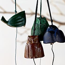 I am a fan of little iron statues and bells, which are so prominent in Asian cultures.  This set of four bells (2 owls, 2 birds) is quite lovely.  And not a bad price at $40. Japanese Bird Bells From RedEnvelope.com