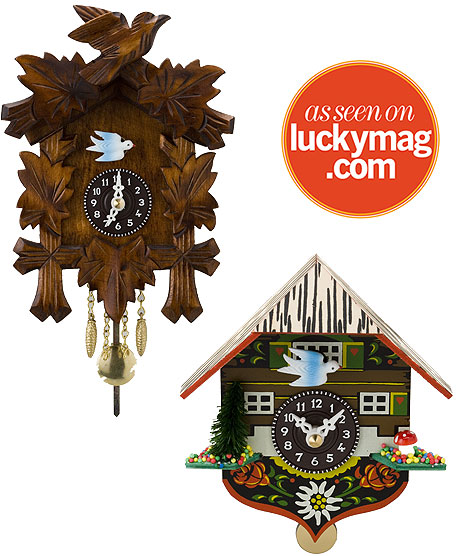 I'm actually really liking these cuckoo clocks at Plastica.  They are $50 and $45 respectively, and don't actually cuckoo.  It runs on batteries, which would be nice for the place I'm thinking of in our kitchen (we may be the only kitchen in America without a single clock in it…) PLASTICA: Cuckooless Cuckoo Clocks
