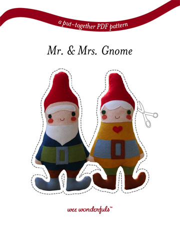 """I adore this little gnome couple. You can buy the pattern and instructions to create these little plushies for $10 from the wee wonderfuls shop. They are about 13"""" tall, so pretty good sized. Maybe someday I'll have the time to make them.    A WeeWonderfuls Sale"""