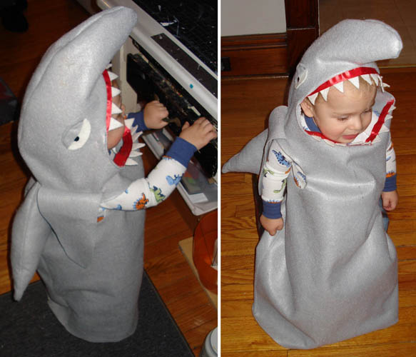 I certainly had a habit of pouting on Halloween as a small child (there was the year I cried while my mom was trying to do my clown makeup, the year I was a ghost and had to be carried the whole way, the list goes on…) My history with Halloween really makes me enjoy this pouting shark.  (And his mother did a fantastic job with the crafted costume.)    Craftzine.com blog: Shark Halloween Costume