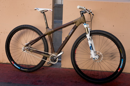 I've seen bamboo and wooden bike frames before, but this is the first one that looks like it may be sturdy enough for real riding.  Too bad its price doesn't make it sustainable. Bamboo Bike Maker Grows His Frames, Bonsai Style | Gadget Lab from Wired.com (Thanks, Todd.)