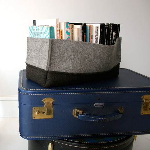 Seems like this isn't worth $120.  Seems like I could make it pretty easily. In fact, maybe this is the pattern I'm looking for that would look good in my media stand for dvd/game storage.  Now, where to find industrial felt…    Apartment Therapy Re-Nest | Felted Wool Book Box by etcetera media